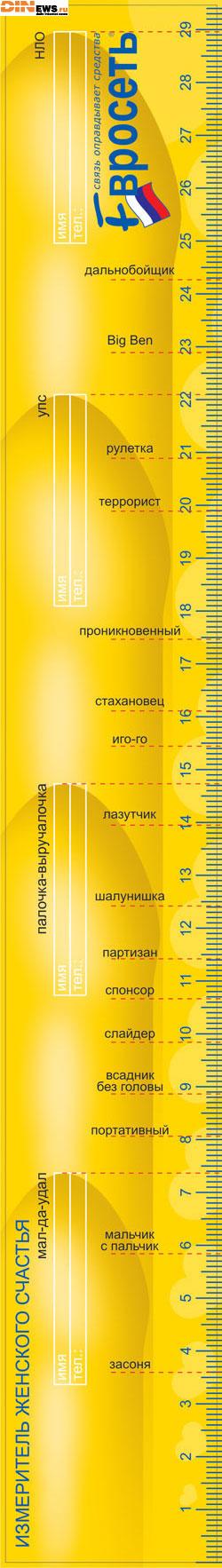 Евросеть снова жжет! Линейка для женщин! Измеритель женского счастья! :)
